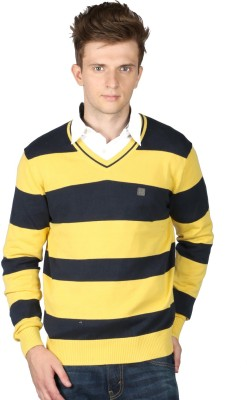 Again Striped V-neck Casual Men's Yellow Sweater