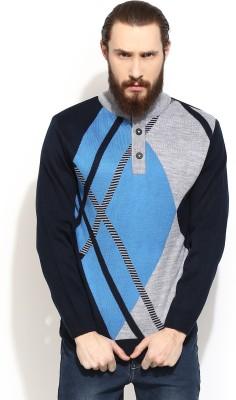 COBB Striped Round Neck Casual Men's Blue Sweater
