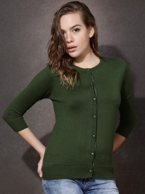 Roadster Solid Round Neck Casual Women's Green Sweater