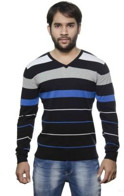 AMX Striped V-neck Casual Men's Black, Grey, White, Light Blue Sweater