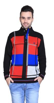 BRAVEZI Self Design Turtle Neck Casual Men,s Black, Red, Blue Sweater