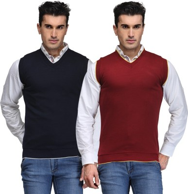 TSX Solid V-neck Casual, Party, Formal Men's Blue, Maroon Sweater