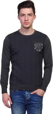 TSAVO Printed Round Neck Casual Men's Grey Sweater