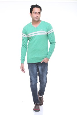 Pro Riders Striped V-neck Casual Men's Green Sweater