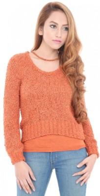 ESTANCE Solid Round Neck Casual Women's Orange Sweater