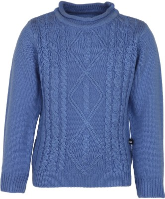 Bells and Whistles Solid Round Neck Baby Girl's Blue Sweater