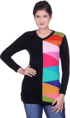 Spink Self Design Round Neck Casual Women's Black Sweater