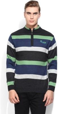 COBB Striped Round Neck Men's Green Sweater