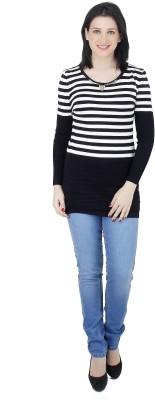 Camey Striped Round Neck Casual Women's White Sweater