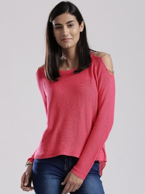 D Muse by DressBerry Solid Round Neck Casual Women's Pink Sweater