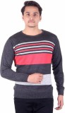 Numalo Striped Round Neck Casual Men Gre...