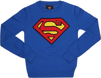 Superman Printed Round Neck Casual Boy's Blue Sweater