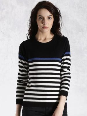 Roadster Self Design Round Neck Casual Women's Black Sweater