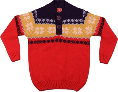 Kidax Woven Turtle Neck Casual, Festive, Party Boy's Purple, Yellow, Red Sweater