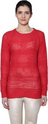 Prakum Solid Round Neck Casual Women's Red Sweater