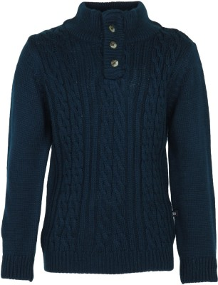 Bells and Whistles Solid Round Neck Girl's Blue Sweater