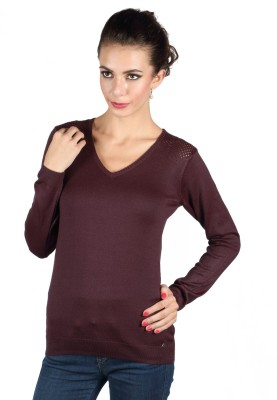 Again Solid V-neck Casual Women's Brown Sweater