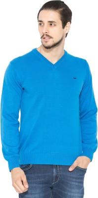 Status Quo Solid V-neck Casual Men's Blue Sweater