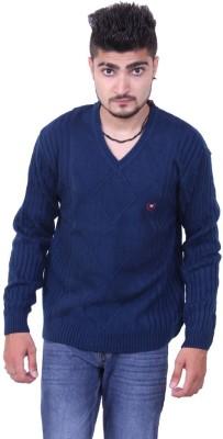 Austrich Striped V-neck Casual Men's Blue Sweater