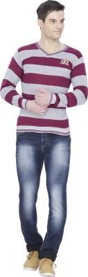 Alay Striped V-neck Casual Men's Dark Green Sweater