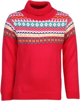 Bells and Whistles Self Design Turtle Neck Casual Baby Girl's Red Sweater