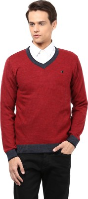 Okane Solid V-neck Men's Red Sweater