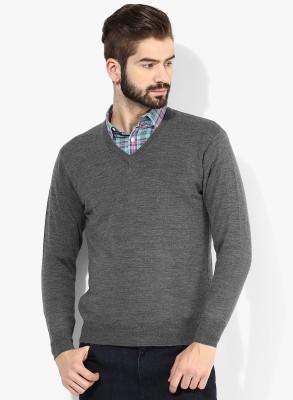 Bansal Knitwears Solid V-neck Men's Grey Sweater