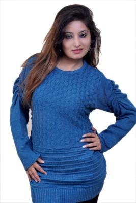 Laadli Ji Self Design Round Neck Women,s Blue Sweater