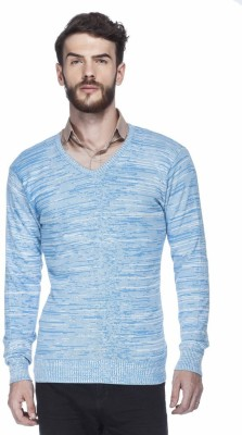 Tinted Solid V-neck Casual Men's Blue Sweater