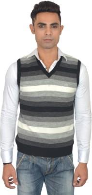 Marc Malon Striped V-neck Casual Men's Grey, Black Sweater