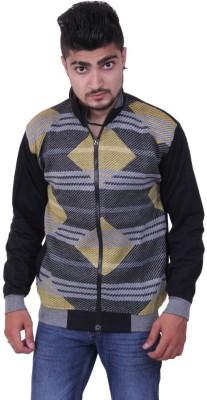 Austrich Striped V-neck Casual Men's Black Sweater