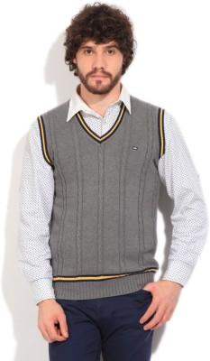 Arrow Sports Self Design V-neck Casual Men's Grey Sweater