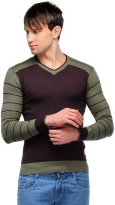 Yepme Solid V-neck Casual Men,s Brown, Green Sweater