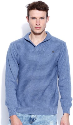 Roadster Solid V-neck Casual Men's Blue Sweater