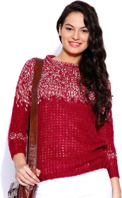 Dressberry Self Design Round Neck Casual Women's Red Sweater