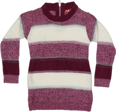 Elle Self Design Round Neck Casual Girl's Multicolor Sweater