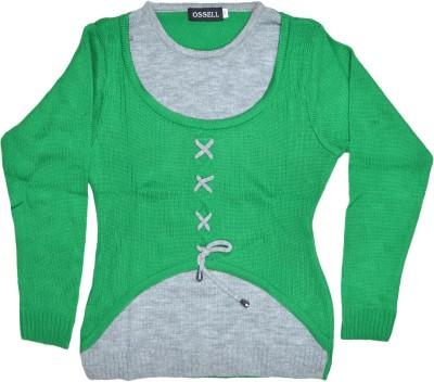 Ossell Self Design Round Neck Girl,s Green, Grey Sweater