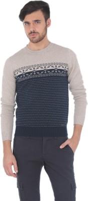 Basics Solid Round Neck Casual Men's Dark Blue Sweater