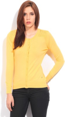 Wrangler Solid Casual Women's Yellow Sweater