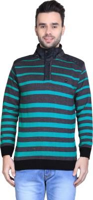BRAVEZI Striped Turtle Neck Casual Men,s Grey, Dark Green Sweater