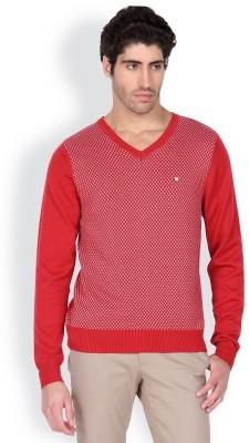 Blackberrys Solid V-neck Men's Red Sweater