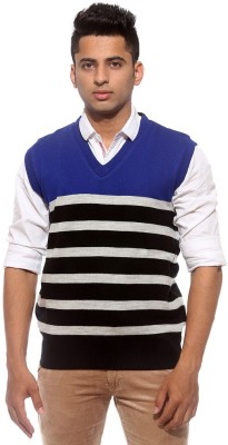 Sports 52 Wear Striped V-neck Casual Men's Reversible Blue Sweater