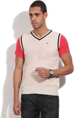 Pepe Jeans Self Design Casual Men,s White Sweater