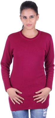 eCools Solid Round Neck Party Women's Maroon Sweater