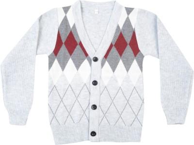 Addyvero Geometric Print V-neck Casual Boy's Multicolor Sweater
