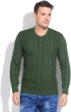 People Solid Casual Men Green Sweater