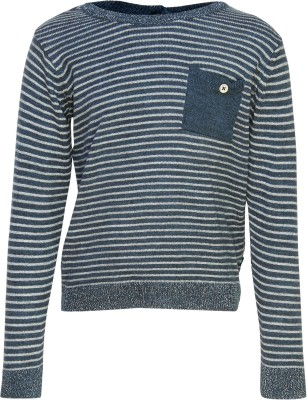 Bells and Whistles Striped Round Neck Casual Girl's Blue Sweater