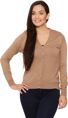 Fugue Solid V-neck Casual Women's Brown Sweater