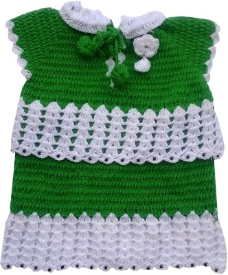 The Wool House Self Design Round Neck Casual Girl's Green Sweater
