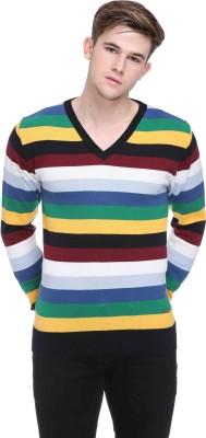 CLUB YORK Striped V-neck Casual Men's Multicolor Sweater